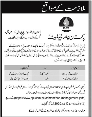 Pakistan Petroleum Limited ppl Jobs 2020