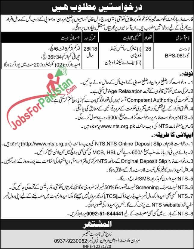 Jobs Advertisement ( NTS Govt jobs in KPK 2020 in Forest Department )