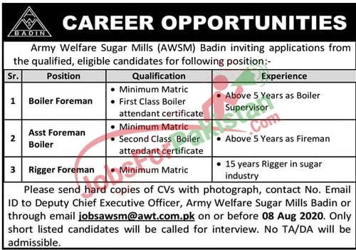 new Army Welfare Sugar Mills Jobs 2020