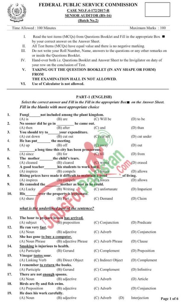 senior auditor FBR Fpsc past paper