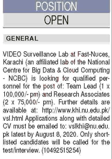 FAST National University of Computer & Emerging Sciences Jobs July 2020