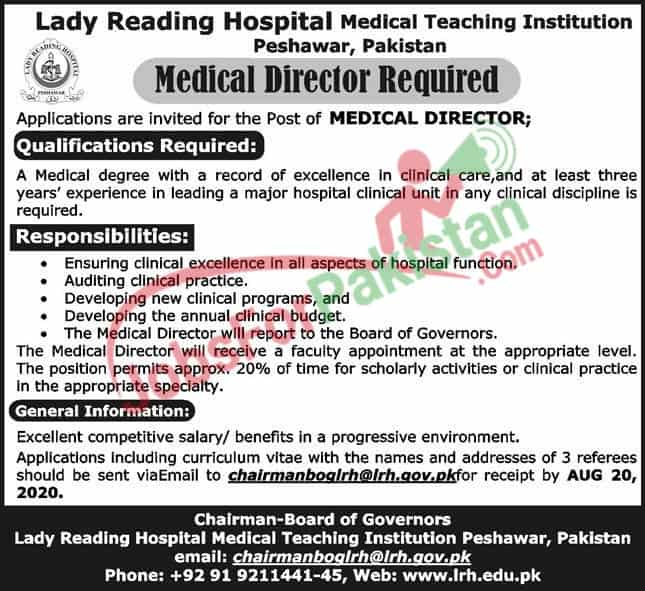 new Jobs advertisement of Lady Reading Hospital Medical Teaching Institution