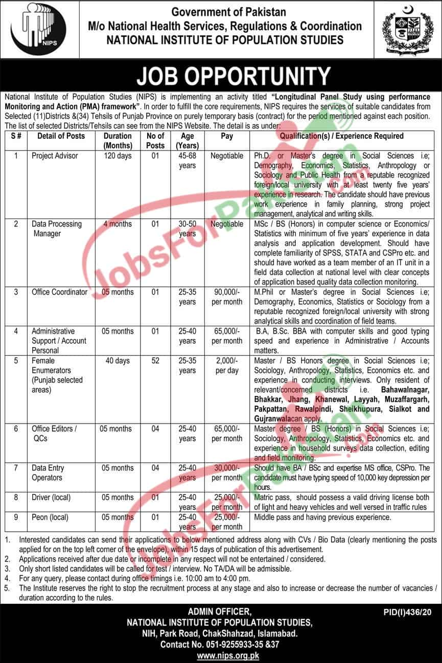 new Ministry Of National Health Services Regulations And Coordination Jobs 2020