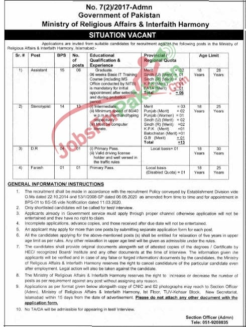 Ministry Of Religious Affairs Jobs 2020 new vacancies