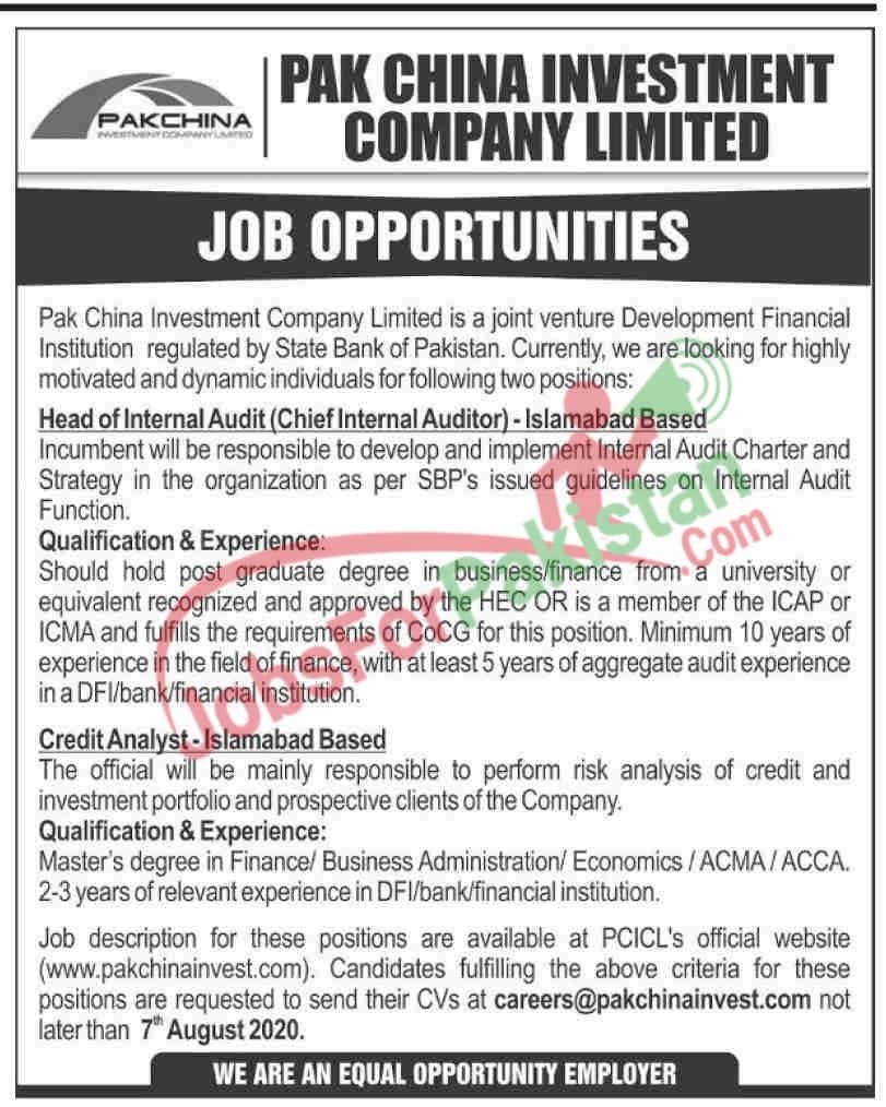 new Pak China Investment Company Limited Jobs 2020