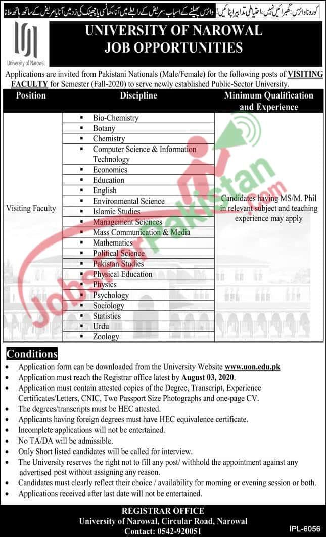University of Narowal Jobs 2020 - New Vacancies