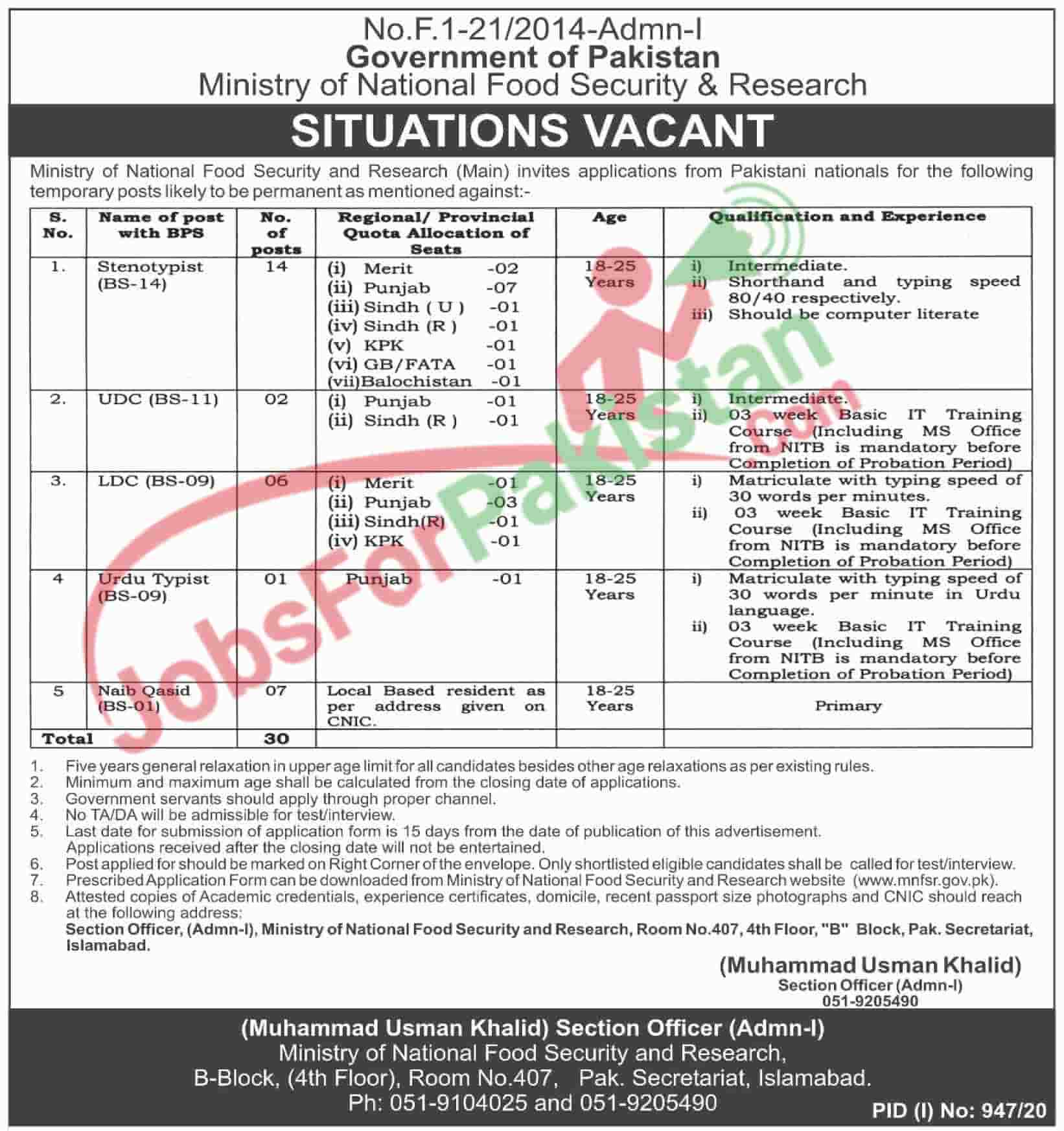 Official Advertisement of Ministry of National Food Security & Research MNSFR Jobs August 2020