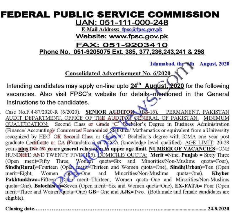 FPSC Latest Jobs August 2020 Advertisement of Senior Auditor BS-16 Vacancies