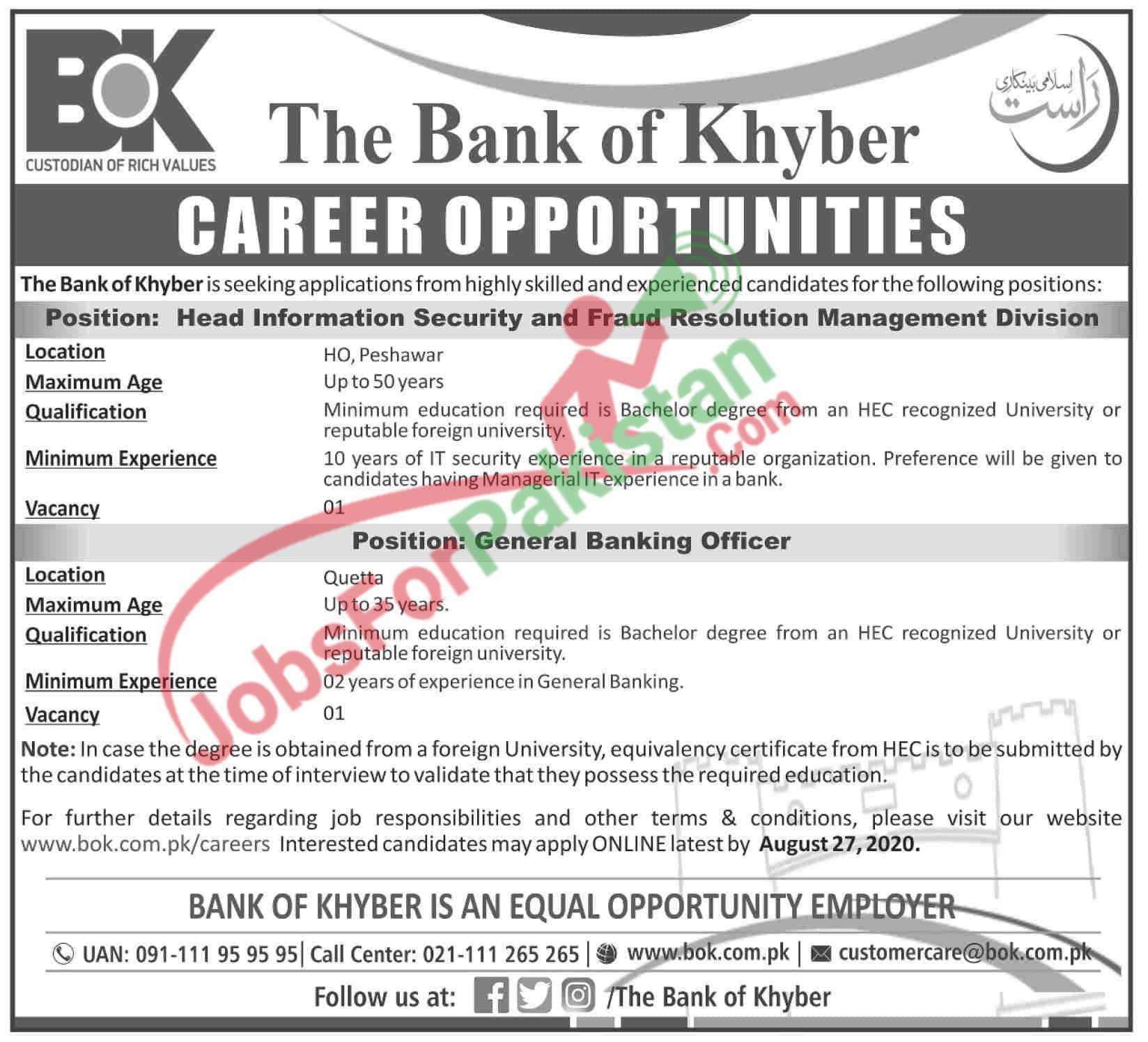 latest Bank of Khyber Jobs Advertisement