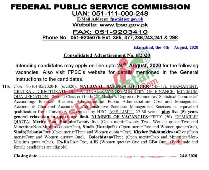 new fpsc jobs for national saving officers
