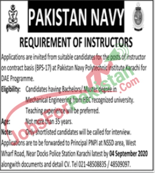 Official Pakistan Navy Jobs Advertisement for Instructor August 2020