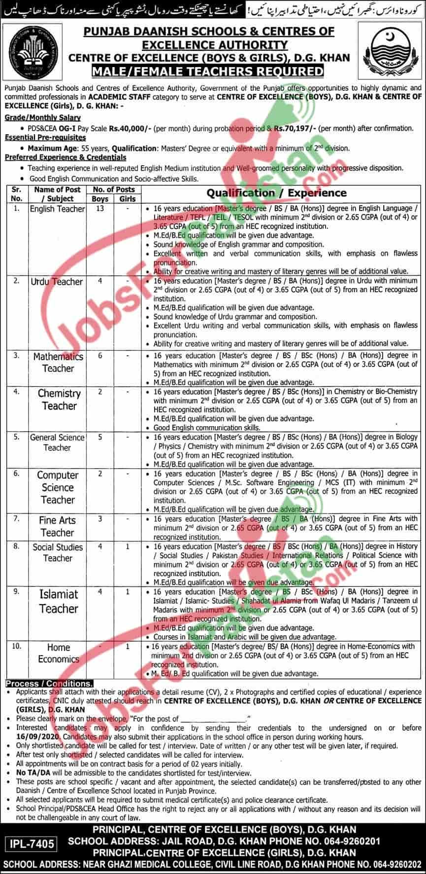 Punjab Daanish School Jobs 2020 application form