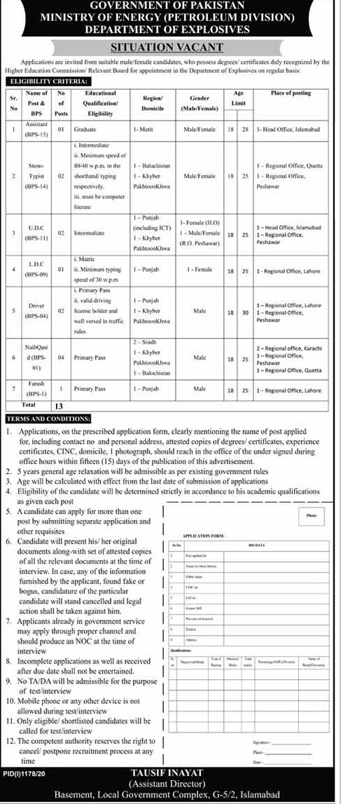 Ministry Of Energy Petroleum Division Jobs Advertisement