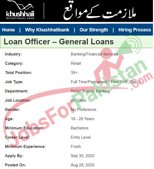Khushhali Bank Jobs September Jobs Advertisement Loan officer
