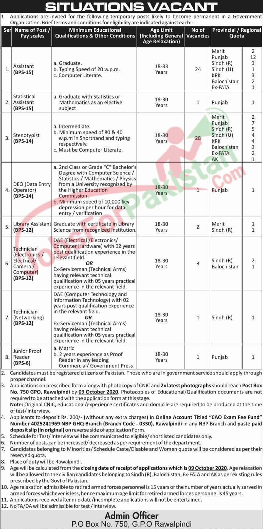 Official GHQ Rawalpindi Vacancies Advertisement