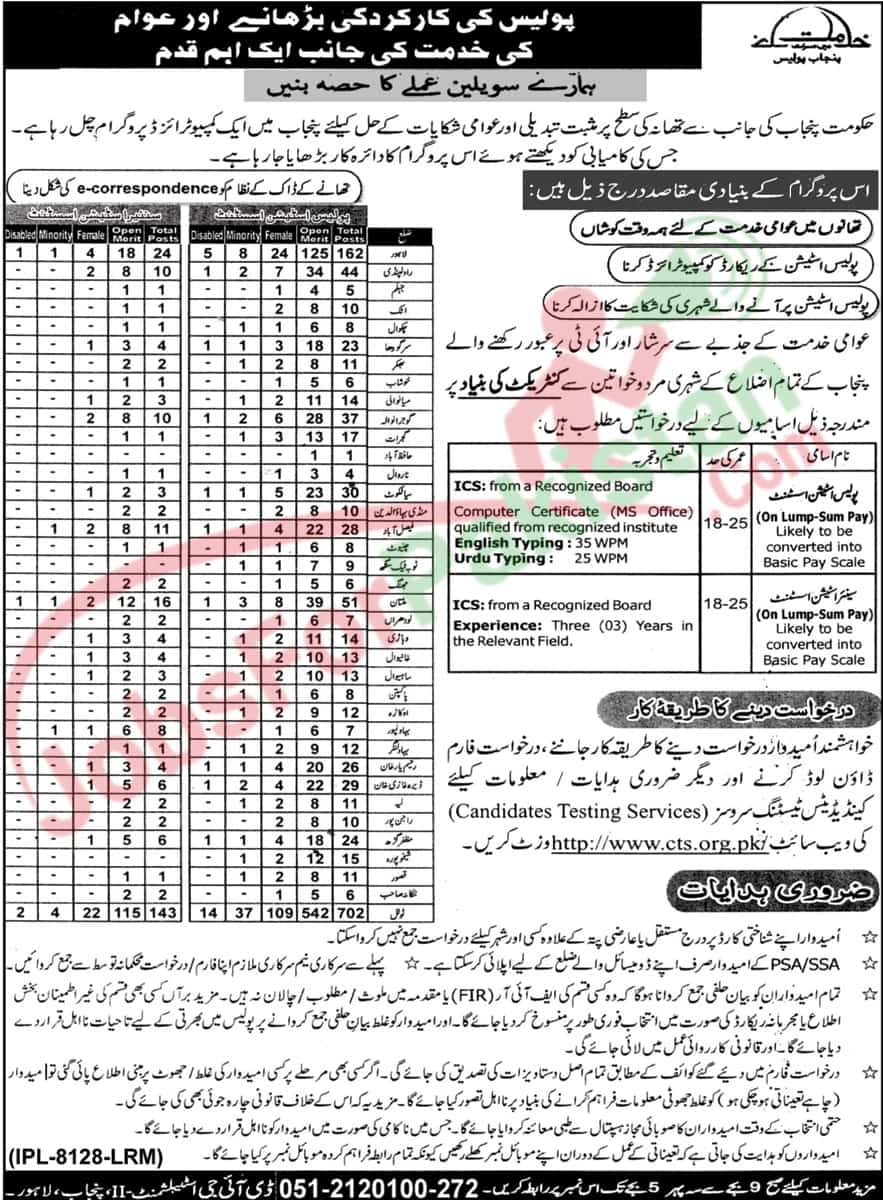 Punjab Police New Vacancies Official Advertisement