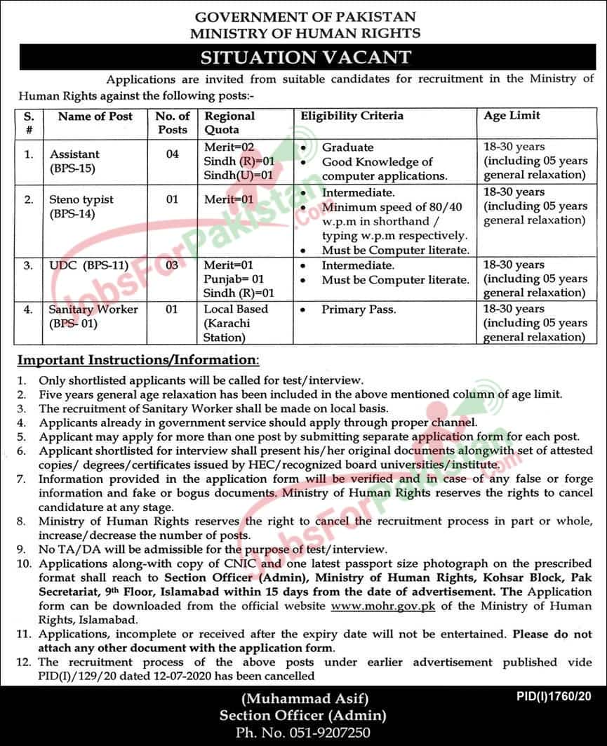 Ministry of Human Rights , Islamabad Jobs 2020 October Original Advertisement