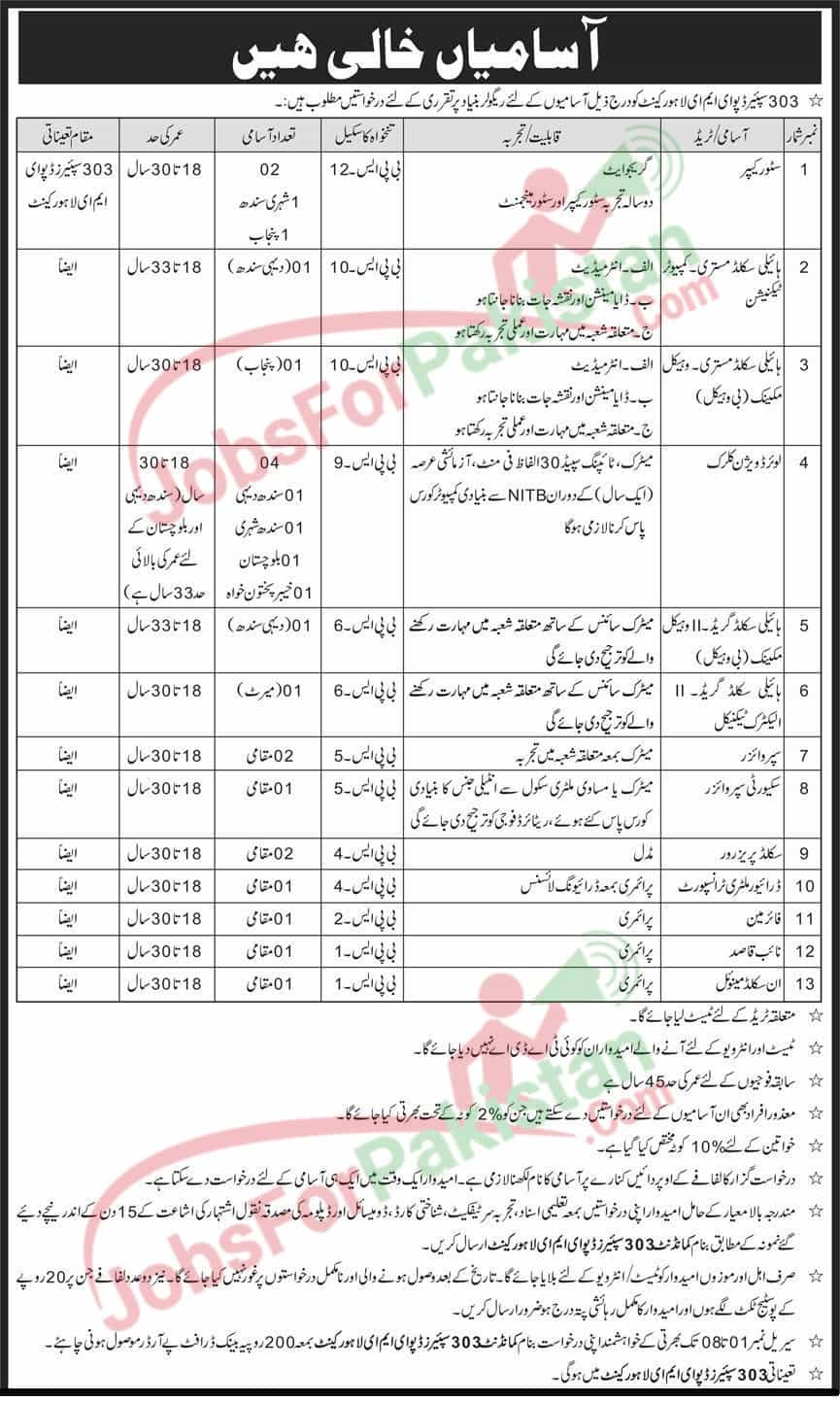 Pak Army EME Jobs October 2020 Original Advertisement