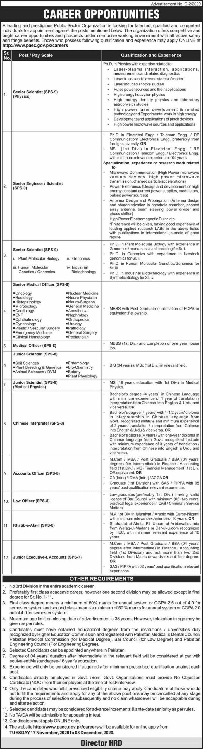 PAEC Atomic Energy New vacancies advertisement