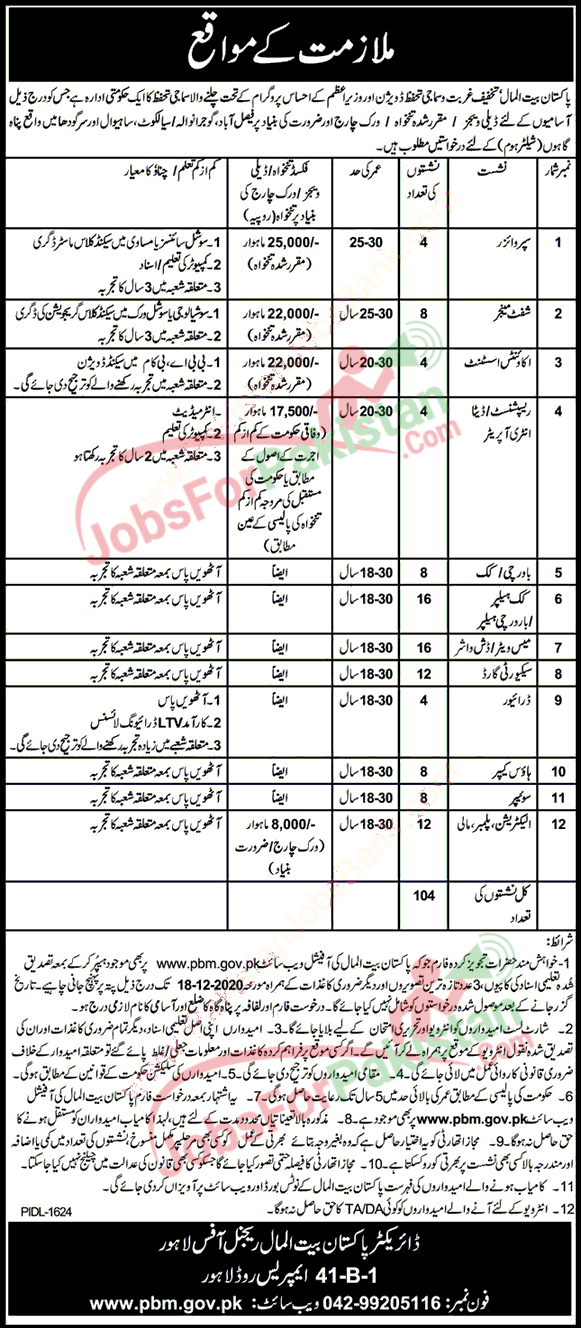 new vacancies advertisement in Pakistan Bait ul mal