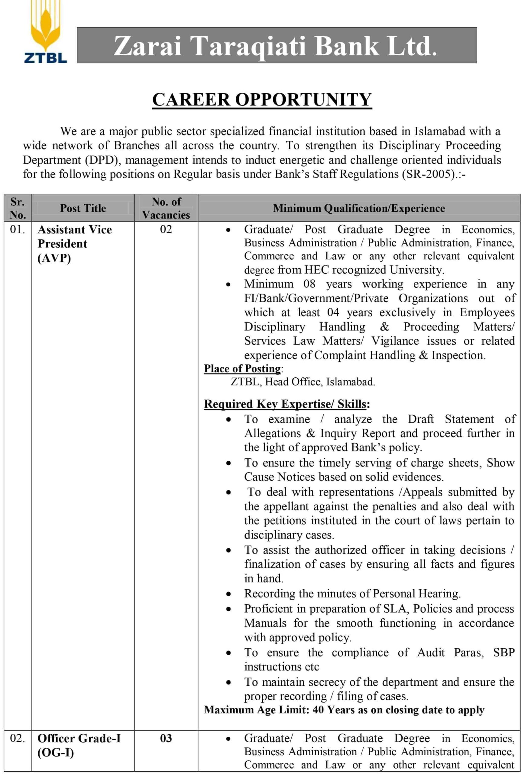 ZTBL Jobs December 2020 Advertisement For Officer Grade