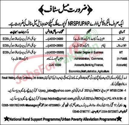 New Vacancies in NRSP Bank 2021