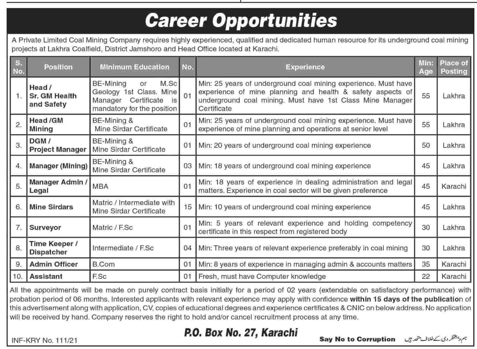 new vacancies in Private Limited Coal Mining Company 2021