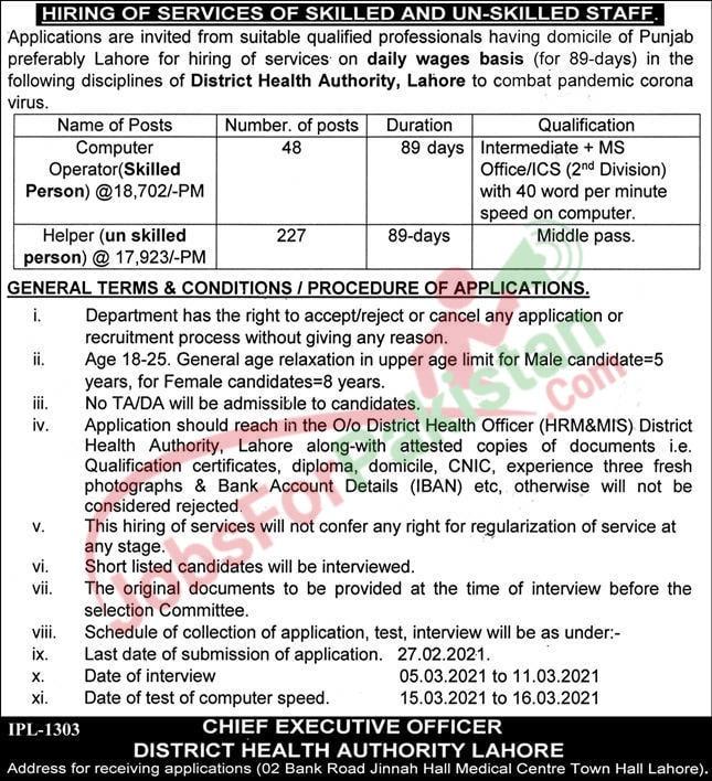 Punjab Health Department New jobs 2021