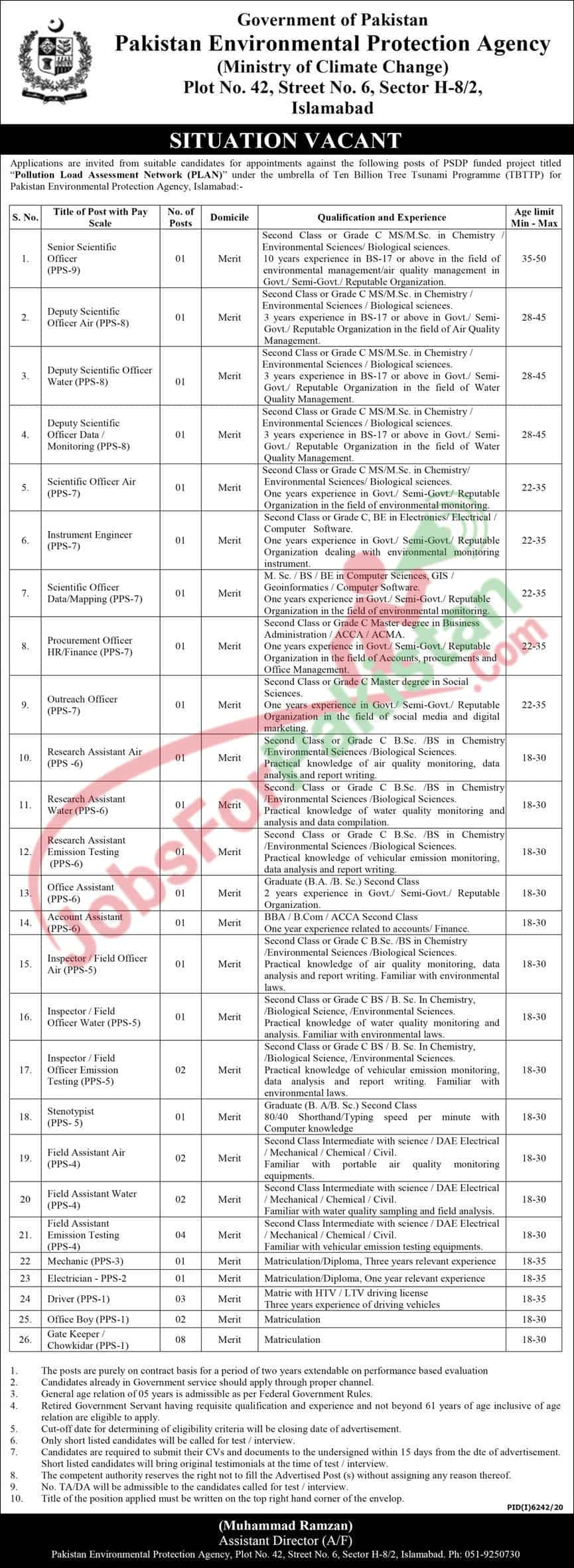 NEW Official Advertisement for Ministry of Climate change Pakistan Jobs 2021