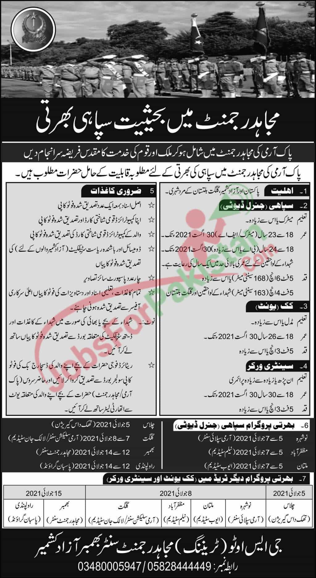 Mujahid Force Jobs 2021 Official Advertisement