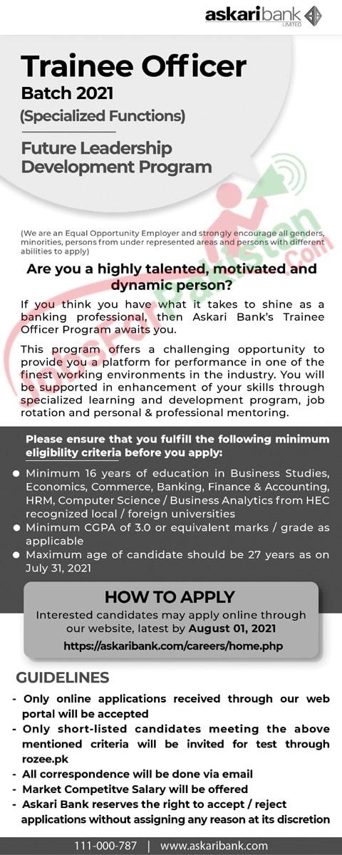 Askari Bank jobs 2021 online apply