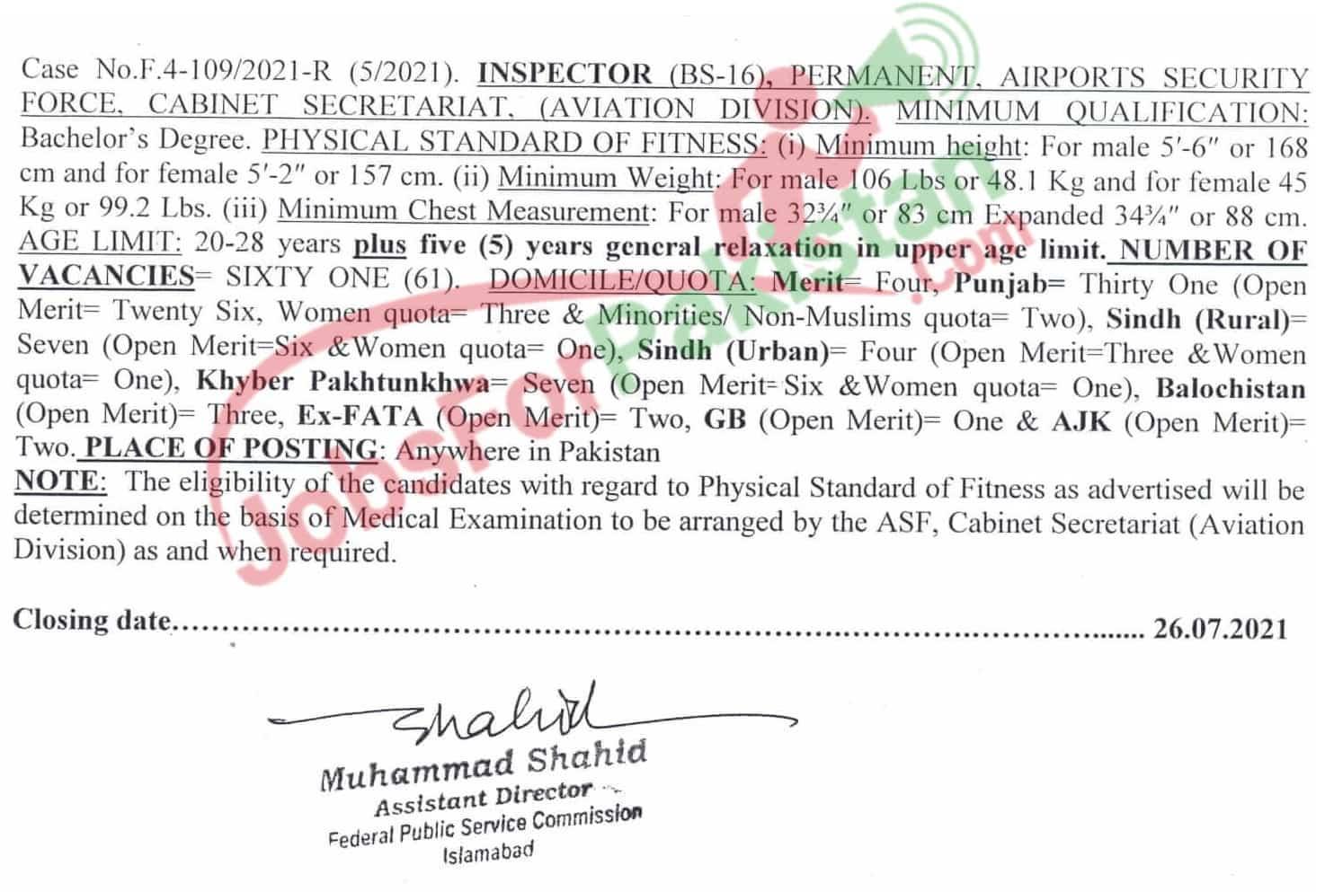 ASF Inspectors FPSC Vacancies 2021 Official Advertisement