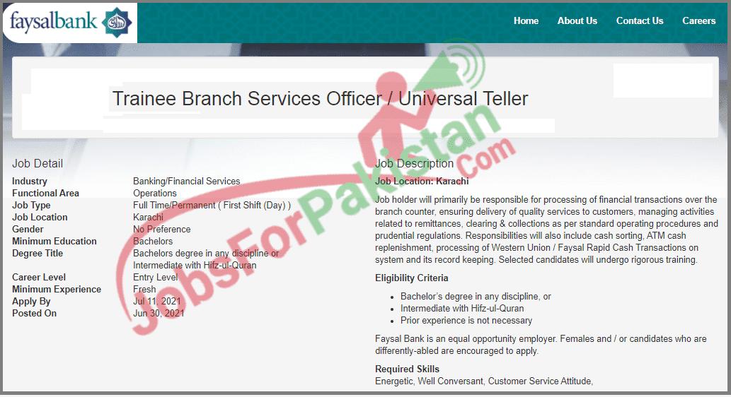 Faysal Bank Latest Vacancies Advertisement 2021
